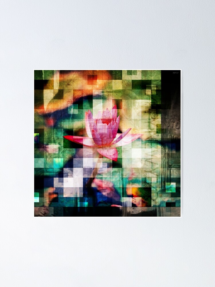 Alternate view of Abstract Flowers And Glass Mosaic Poster