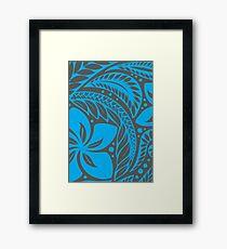 Blue Over Dark Grey Polynesian New Zealand Floral Tattoo Framed Print