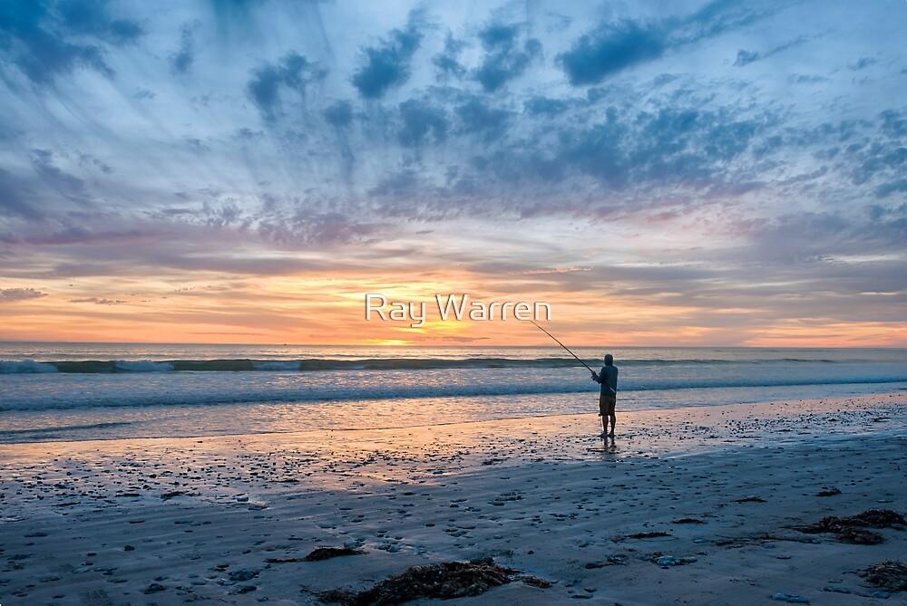 Sunset Beach Fishing by Raymond Warren