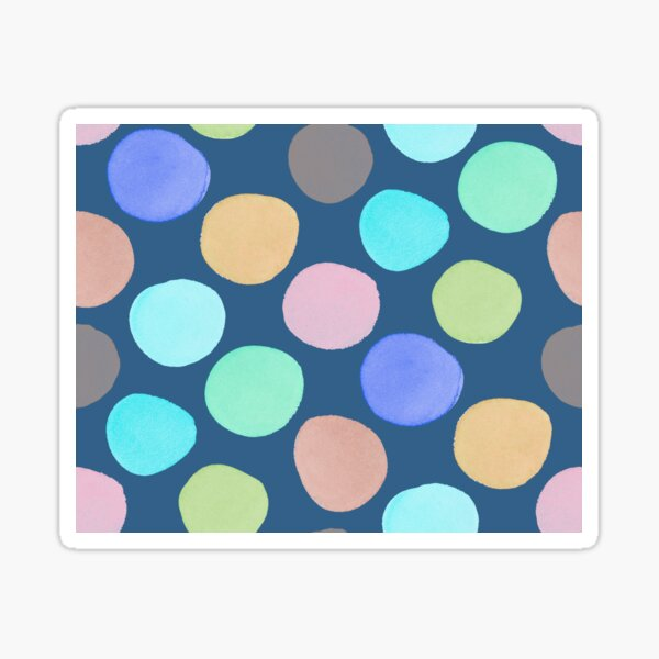 Watercolor Polka Dots on Teal Sticker
