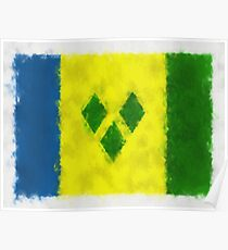 Saint Vincent And Grenadines Flag Reworked No. 66, Series 5 Poster