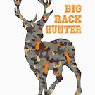 Big Rack Hunter with Buck - in Vintage Blue, Brown, and Orange Camo (Women & Bucks) by LoveOfDictums