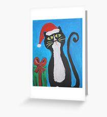 Folk Art Christmas Cat Greeting Card