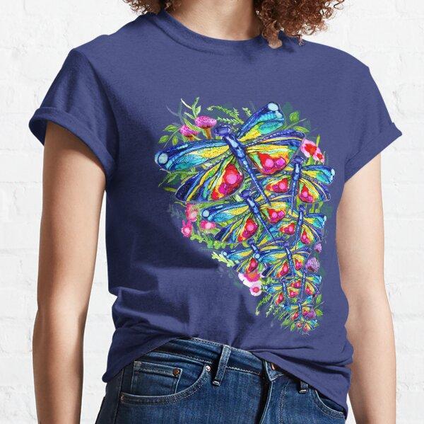 Jardín de flores de libélula tropical Camiseta clásica