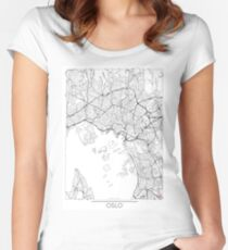 Oslo Map Minimal Women's Fitted Scoop T-Shirt