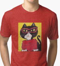 Hipster Turtleneck Cat Painting Tri-blend T-Shirt