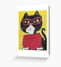Hipster Turtleneck Cat Painting Greeting Card