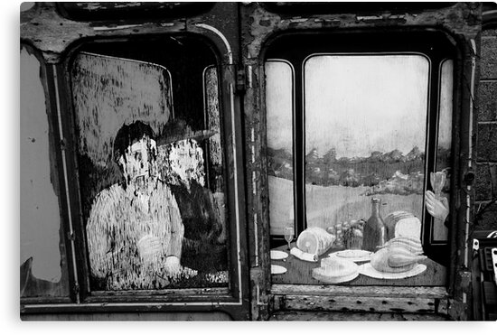 Francis Bacon on old railway carriage door.... by Jo Fedora