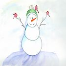 Snowman With His Cardinal Friends by daphsam