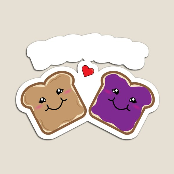 Peanut Butter and Jelly Best Friends Cartoon Food Magnet