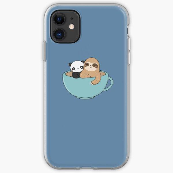 Kawaii Cute Sloth and Panda  iPhone Soft Case