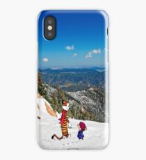 Calvin an Hobbes in Mountain Holiday iPhone Case/Skin