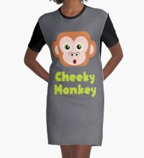 Cheeky Monkey - Cute Vector Graphic T-Shirt Dress