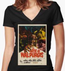 The Werewolf Versus the Vampire Woman / La noche de Walpurgis Women's Fitted V-Neck T-Shirt