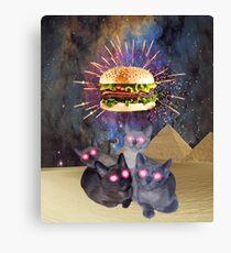 Hamburger Worship Funny Food & Kitty Cat T-Shirt Canvas Print