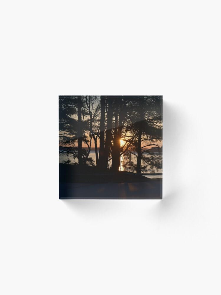 Alternate view of Sunrise through the Trees Acrylic Block