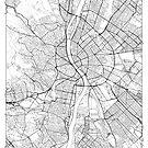 Budapest Karte Minimal von HubertRoguski