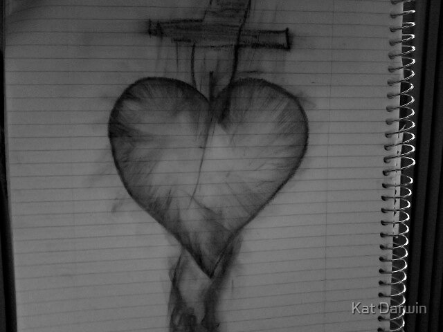 """"""" Don't Stab The Heart"""" (bLACK & wHITE) by Kat Darwin"""