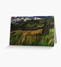 Windy field with cedars Greeting Card