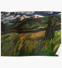 Windy field with cedars Poster