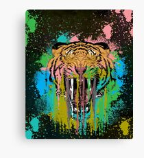 Trippy Drippy Tiger Face T-Shirt Canvas Print