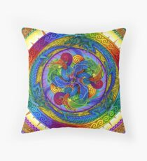 Epiphany Psychedelic Dragons Rainbow Mandala Throw Pillow