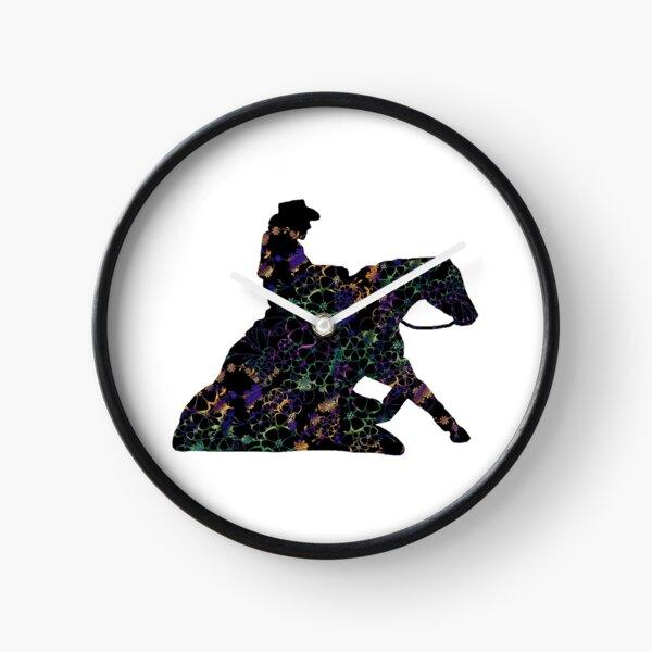 Floral Reining Horse Sliding Stop Clock