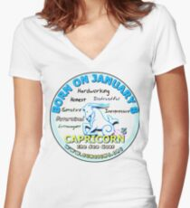 Born on january Women's Fitted V-Neck T-Shirt