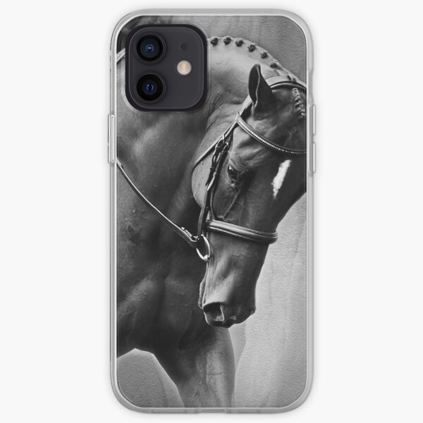 Elegance Dressage Horse in Black and White  iPhone Soft Case