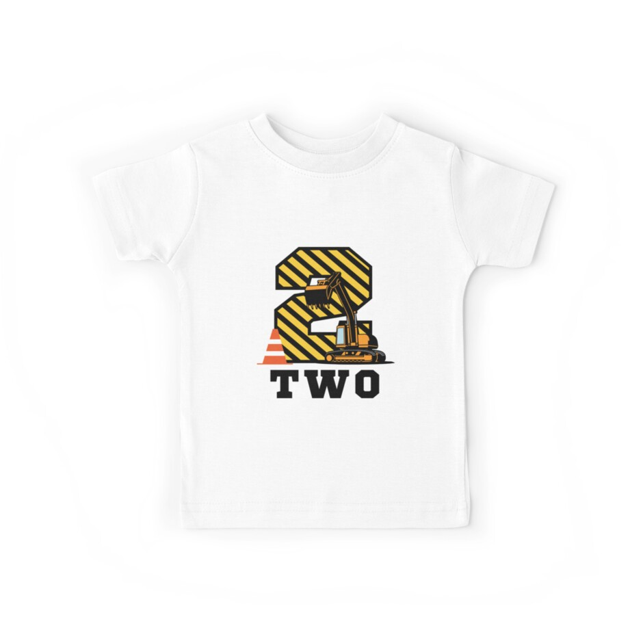 Construction Birthday Boy 2 Years Old Kids Tees By Aastudio