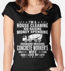 CONCRETE WORKER WIFE AND I LOVE MY LIFE Women's Fitted Scoop T-Shirt
