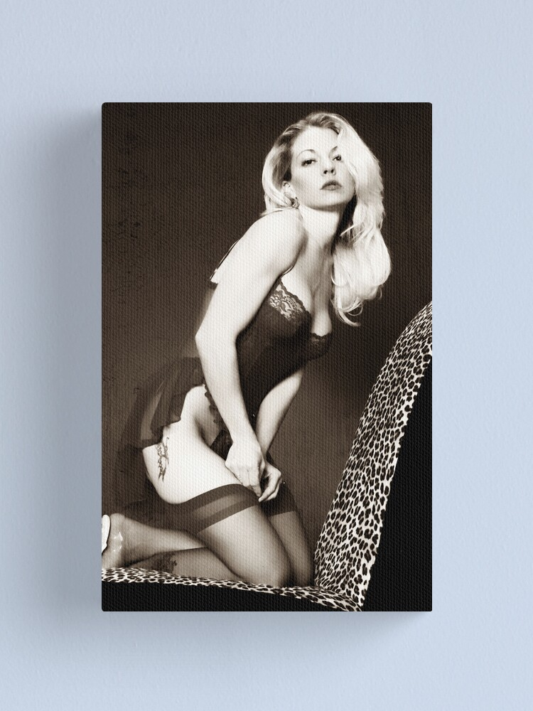 Alternate view of Black & White Pinup Canvas Print