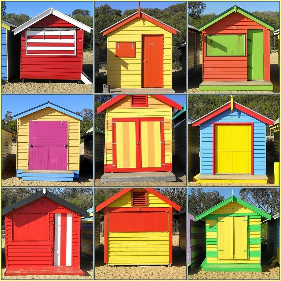 Brighton Bathing Boxes in Red by Christopher Biggs