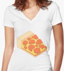 Isometric Pepperoni Pizza Women's Fitted V-Neck T-Shirt
