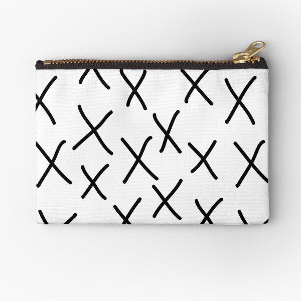 X - cross, plus, black and white, hand-drawn, graphic, bold, modern monochrome minimal design Zipper Pouch