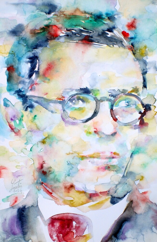 SARTRE - watercolor portrait by lautir