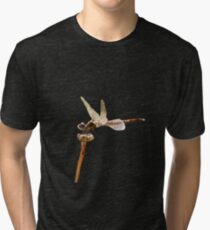 Dragonfly Resting On Seed Head Isolated  Tri-blend T-Shirt