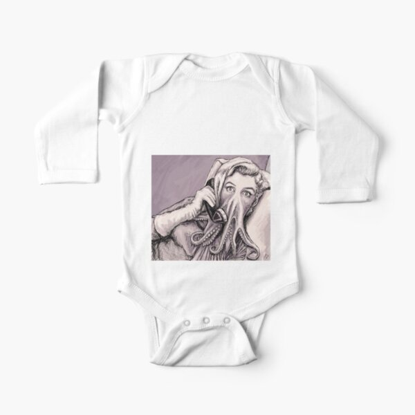 Phone Call of Cthulyn Long Sleeve Baby One-Piece