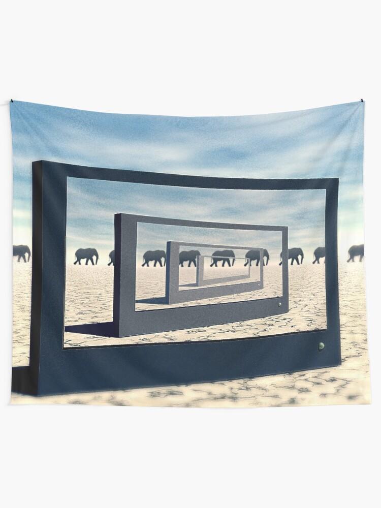 Alternate view of Surreal Elephant Desert Scene Tapestry