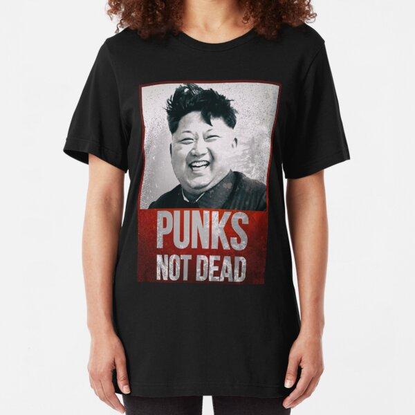 Kim Jong Un - Punks Not Dead - Funny Slim Fit T-Shirt