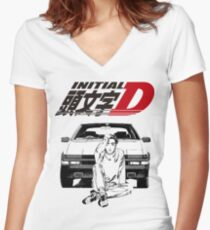 Initial D Women's Fitted V-Neck T-Shirt