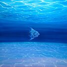 Blue Angels Blue Sea - a blue painting of an underwater seascape with angel fish by Gill Bustamante