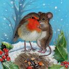 Christmas Robin and Mouse by The Magic  Peacock