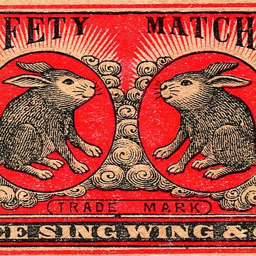 Rabbits - Vintage Japanese Matchbox Design by typhon