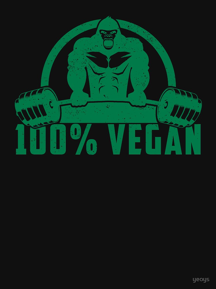 100% Vegan AF Muscle Gorilla - Funny Workout Quote Gift by yeoys