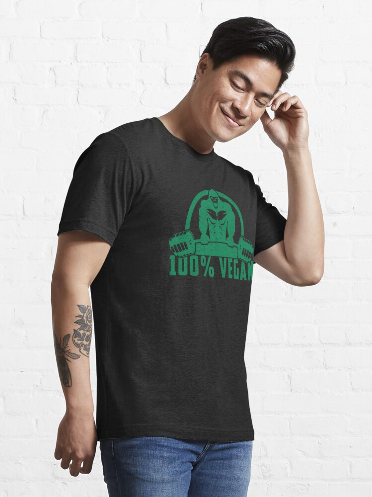 Alternate view of 100% Vegan AF Muscle Gorilla - Funny Workout Quote Gift Essential T-Shirt