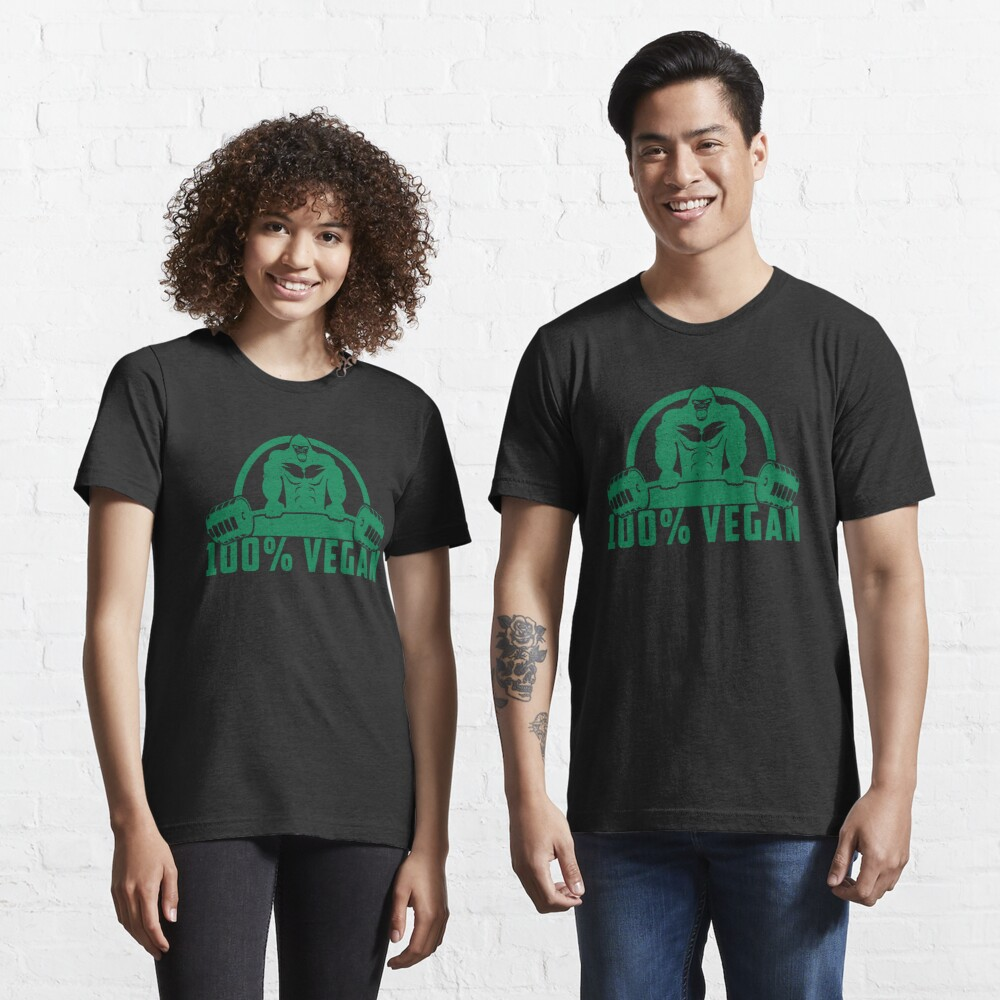 100% Vegan AF Muscle Gorilla - Funny Workout Quote Gift Essential T-Shirt