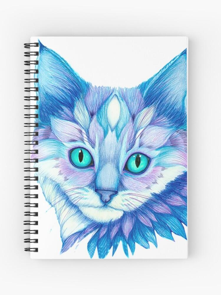 Cuaderno De Espiral Hermoso Color Lápiz Gato Cara Dibujo De