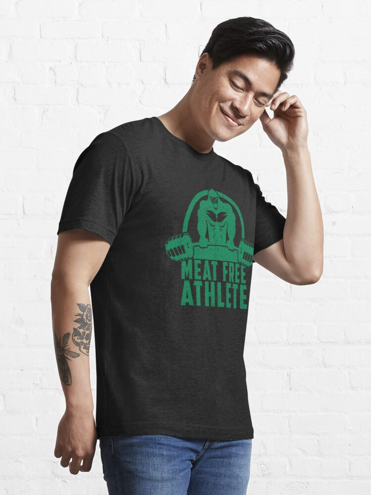 Alternate view of Meat Free Athlete Vegan Gorilla - Funny Workout Quote Gift Essential T-Shirt