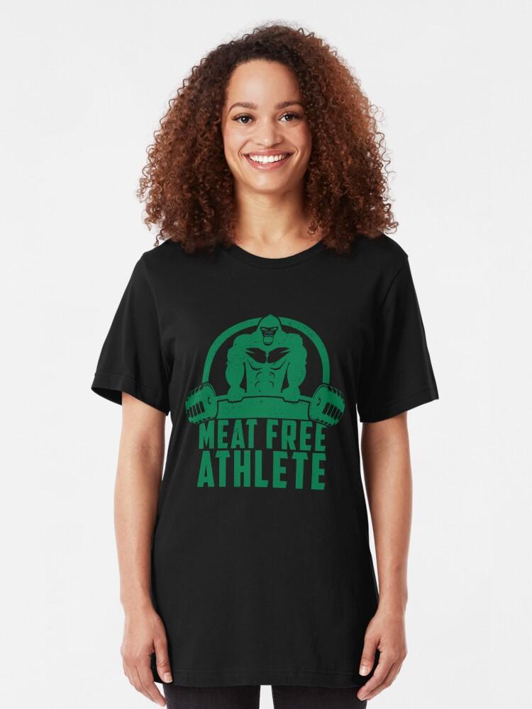 Alternative Ansicht von Meat Free Athlete Vegan Gorilla - Funny Workout Quote Gift Slim Fit T-Shirt